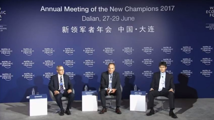 Don Tapscott addresses the WEF in Dailan, China