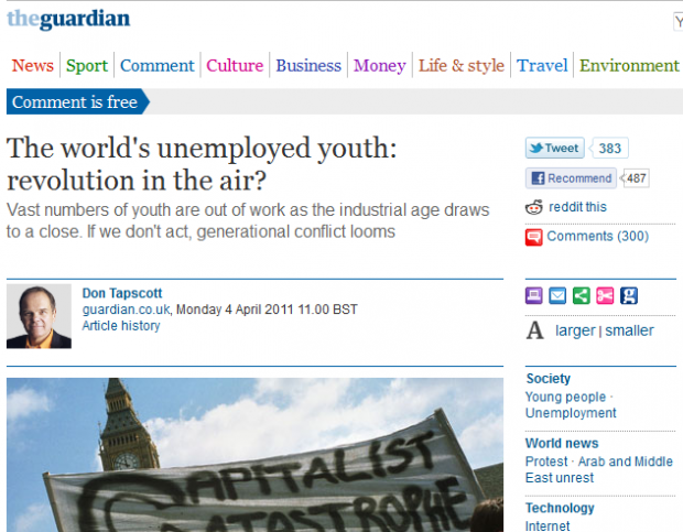 The Guardian: The world's unemployed youth: revolution in the air?